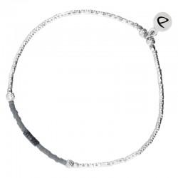 DORIANE BIJOUX - Bracelet élastique argent SHINNY - hématites & Miyuki grises
