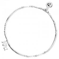 DORIANE BIJOUX - Bracelet élastique argent I LOVE YOU - Tubes lisses & Diamantés