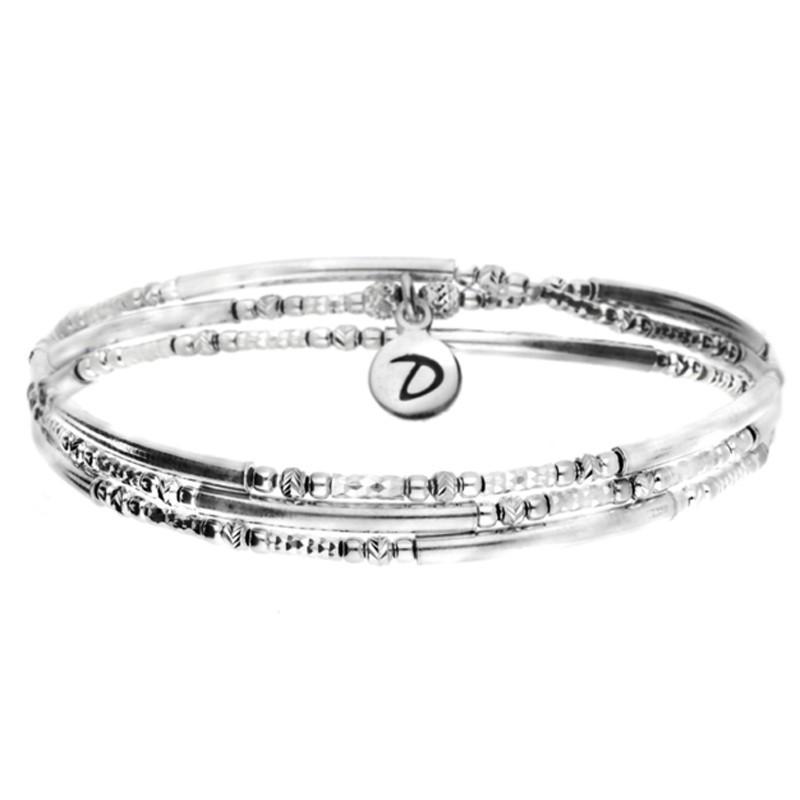 DORIANE BIJOUX - Bracelet multi-tours élastique argent TRIPLE - Tubes lisses & Diamantés