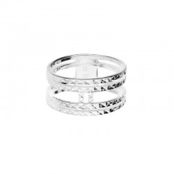 DORIANE BIJOUX - Bague large anneaux en argent ciselé effet diamanté - Eden