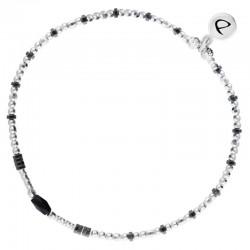 DORIANE BIJOUX - Bracelet élastique INFINITY - Perles en argent & Miyuki noires