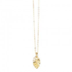 Collier choker chaîne Or LOVELY DAY - Pendentif feuille