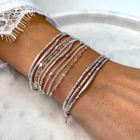 Bracelet multi-tours élastique argent TRIPLE DORIANE BIJOUX - Perles en argent Tubes lisses & Diamantés
