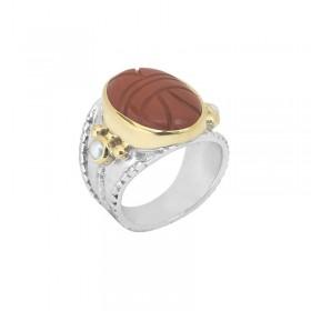 Bague large ethnique argent doré - Scarabée Jaspe rouge & Perles blanches CANYON