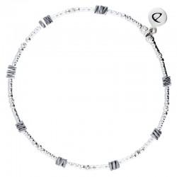 Bracelet fin élastiqué en Argent DORIANE Bijoux- Tubes diamantés & Hématites chips grises