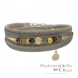 Bracelet multi-rangs Pepita doré BY GARANCE  - Cordons gris & Perles grises kaki