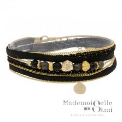 Bracelet multi-rangs Pepita doré BY GARANCE - Cordons noirs & Perles noires grises