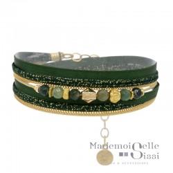 Bracelet multi-rangs Pepita doré BY GARANCE - Cordons verts & Perles vertes noirs