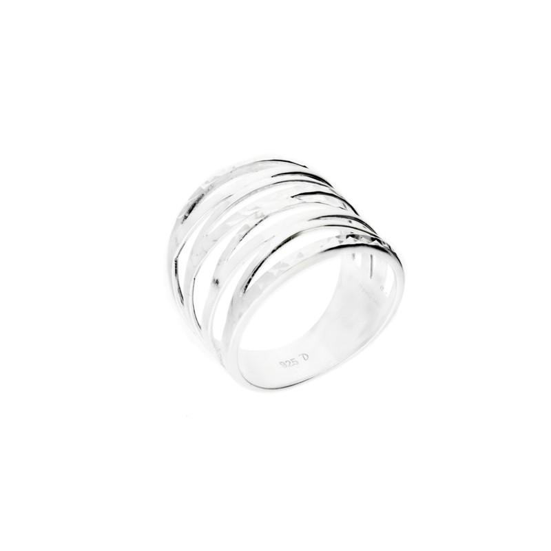 Bague large anneaux en argent ciselé effet diamanté - Icône DORIANE BIJOUX