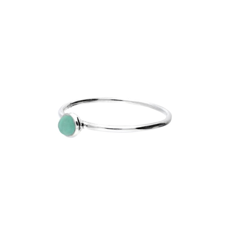 Bague anneau fin lisse Argent & Petite pierre ronde verte DORIANE Bijoux