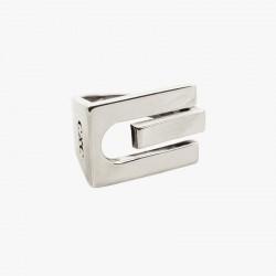 Bague Large tout métal CXC - Décor Art Nouveau rectangle