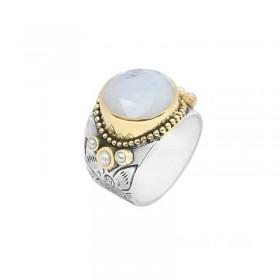 Bague large ethnique argent laiton doré - Pierre de Lune ronde & perles blanches CANYON