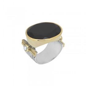 Grosse bague ethnique argent doré CANYON - Onyx noir transversal & Perles blanches