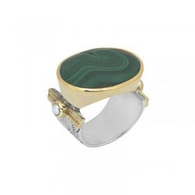 Bague large argent doré CANYON BIJOUX - Chevalière transversale ovale & Malachite