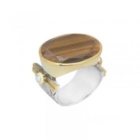 Grosse bague ethnique argent doré CANYON BIJOUX - Oeil de Tigre transversal & perles blanches