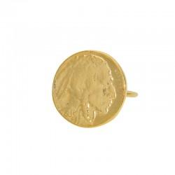 Bague fine Or LuckyTeam - Pièce de monnaie & Figurine antique indien