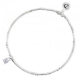 Bracelet élastique argent ALONE DORIANE Bijoux - Tubes lisses diamantés & Oxyde de zirconium