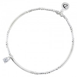 Bracelet élastique OXYDE Perles & tubes diamantés en argent DORIANE BIJOUX