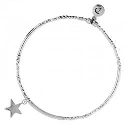 Bracelet élastique argent STAR DORIANE Bijoux - Tubes lisses diamantés & Etoile