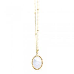 Collier sautoir Or OVALYS Blanc - Chaîne perlée & Nacre ovale - Lovely Day