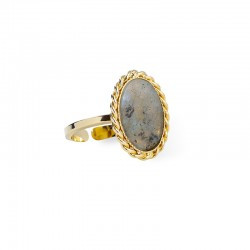 Bague ajustable OVALYS Or - Médaillon tressé & Labradorite ovale - Lovely Day