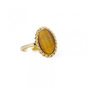 Bague ajustable OVALYS Or - Médaillon tressé & Oeil de Tigre ovale - Lovely Day