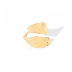 BDM STUDIO - Bague fine ajustable CHEYENNE Or - Duo de Plumes designs