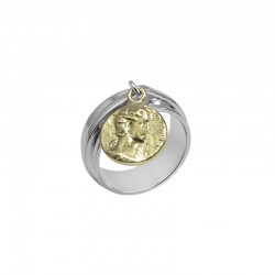 Bague PROFIL ANTIQUE CANYON - Anneau large argent & Médaille mobile gravée dorée