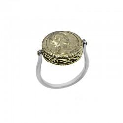 Bague fine REVERSIBLE argent doré - Profil romain doré & dessous Nacre