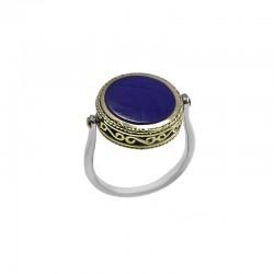 Bague fine REVERSIBLE argent doré CANYON - Lapis Lazuli ronde & Profil romain doré