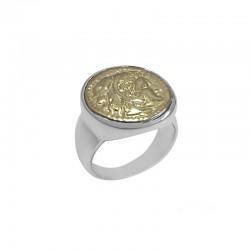 Bague large MONNAIE argent doré CANYON - Chevalière & Pièce de monnaie antique dorée