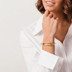 Bracelet Jonc DETROIT- Plaqué or & Boucle rectangulaire design signé CXC
