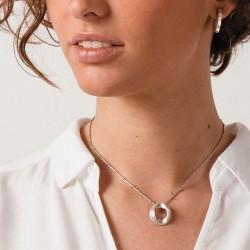Collier court ELLIPSE métal - Chaîne perlée & Pendentif design signé CXC
