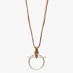 Collier Long TROT métal CXC - Liens cuir camel & Pendentif anneau barrette