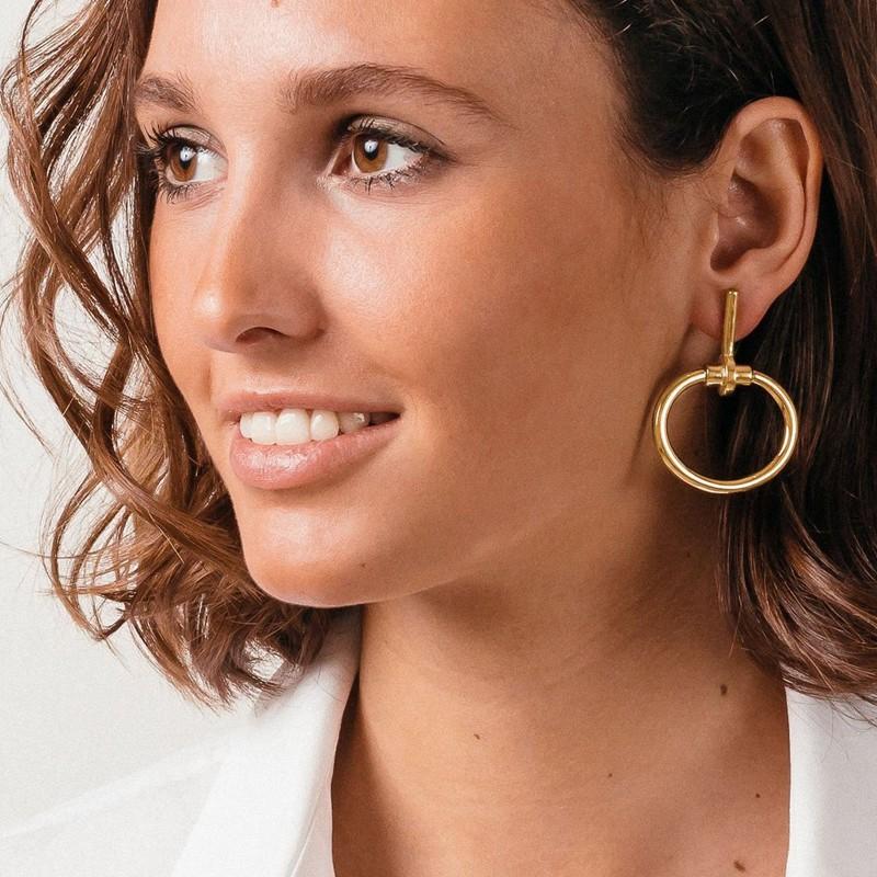 Boucles d'oreilles MORS doré - Pendants barres & Anneaux ovales signées CXC