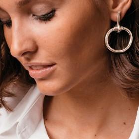 Boucles d'oreilles MORS métal - Pendants barres & Anneaux ovales signées CXC