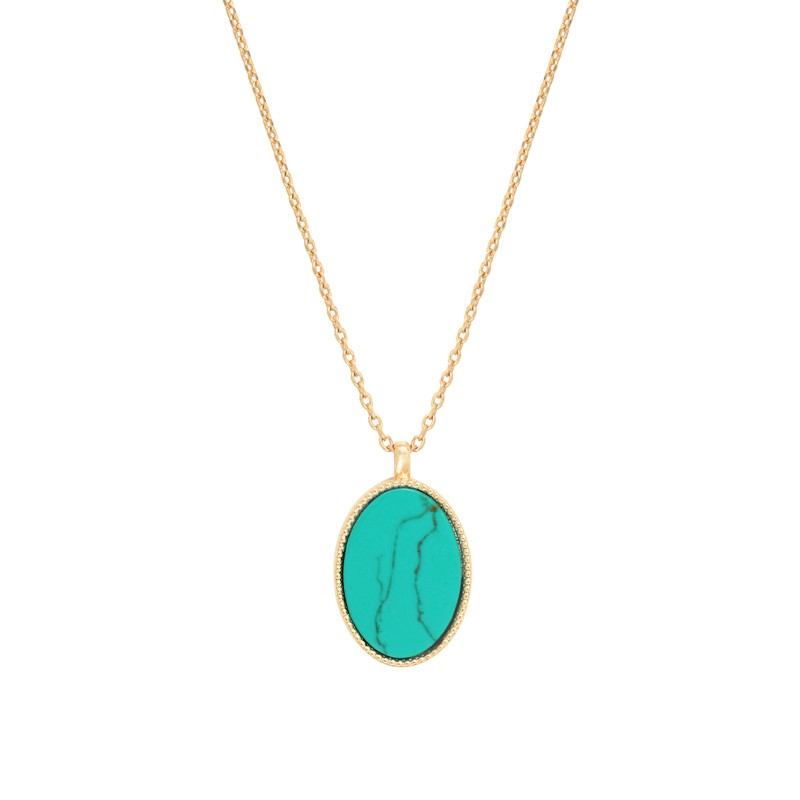 Collier fin doré FRIDA NILAI Paris- Chaîne & Pendentif turquoise ovale
