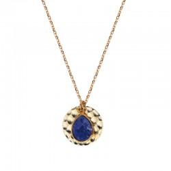 Collier fin chaîne DELHI Or NILAI Paris - Médaille ronde & Pendentif quartz ovale