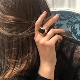Bague Chevalière rectangulaire & Onyx noir transversal CANYON BIJOUX