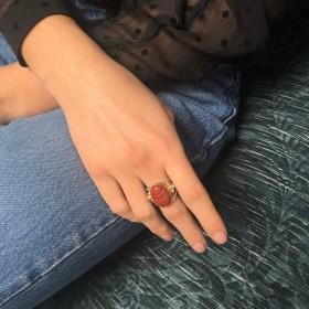 Bague large signée Canyon Bijoux Scarabée rouge & Perles blanches