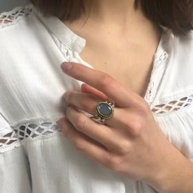 Bague ethnique Labradorite ovale & perles blanches CANYON BIJOUX