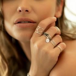 Bague large spirale en argent ciselé effet diamanté - Midnight DORIANE BIJOUX