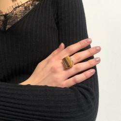 Grosse bague CANYON argent doré - Chevalière rectangulaire & Oeil de Tigre transversal
