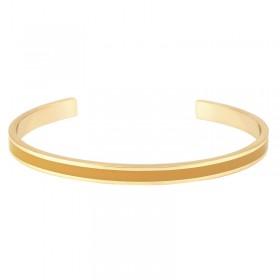 Bracelet jonc ouvert Bangle Up - Laiton doré & émail jaune safran moutarde