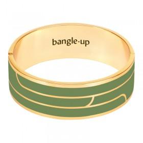 Bracelet jonc manchette Gaya signé Bangle Up - Doré & Email Kaki