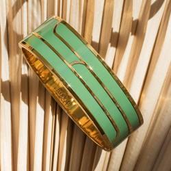 Bracelet jonc manchette Gaya - Doré & Email Kaki - BANGLE UP