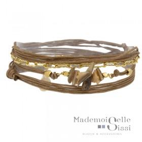 Bracelet multi-tours Naia cordons taupe doré - Chaîne & Coquillages BY GARANCE