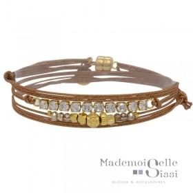 Bracelet multi-tours Nuit cordons terracotta By Garance - Cristaux & Perles dorée