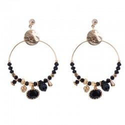 Boucles d'oreilles créoles CRISTAL BY GARANCE - Pampilles Perles et Cristal Noir Doré