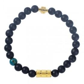 Bracelet élastiqué Or AME SOEUR - Agate mat noir & Rouleau Tube brossé - Lovely Day